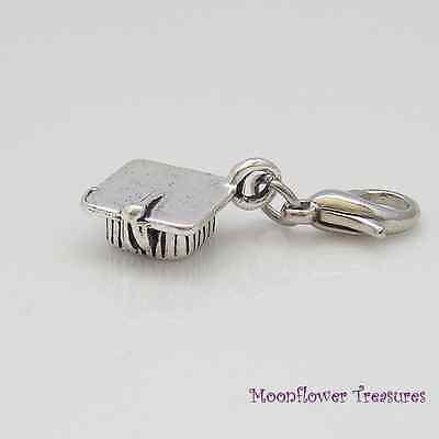 Tibetan Silver 3D Graduation Cap Mortarboard Charm fit Clip on Charm Bracelet