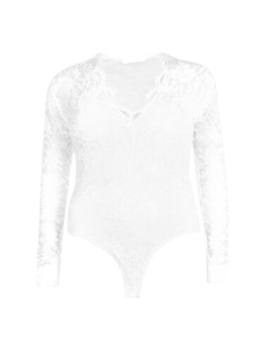 New Womens Plus Size Molly Lace Long Sleeve Bodysuit Lace Top Leotard UK 16-24
