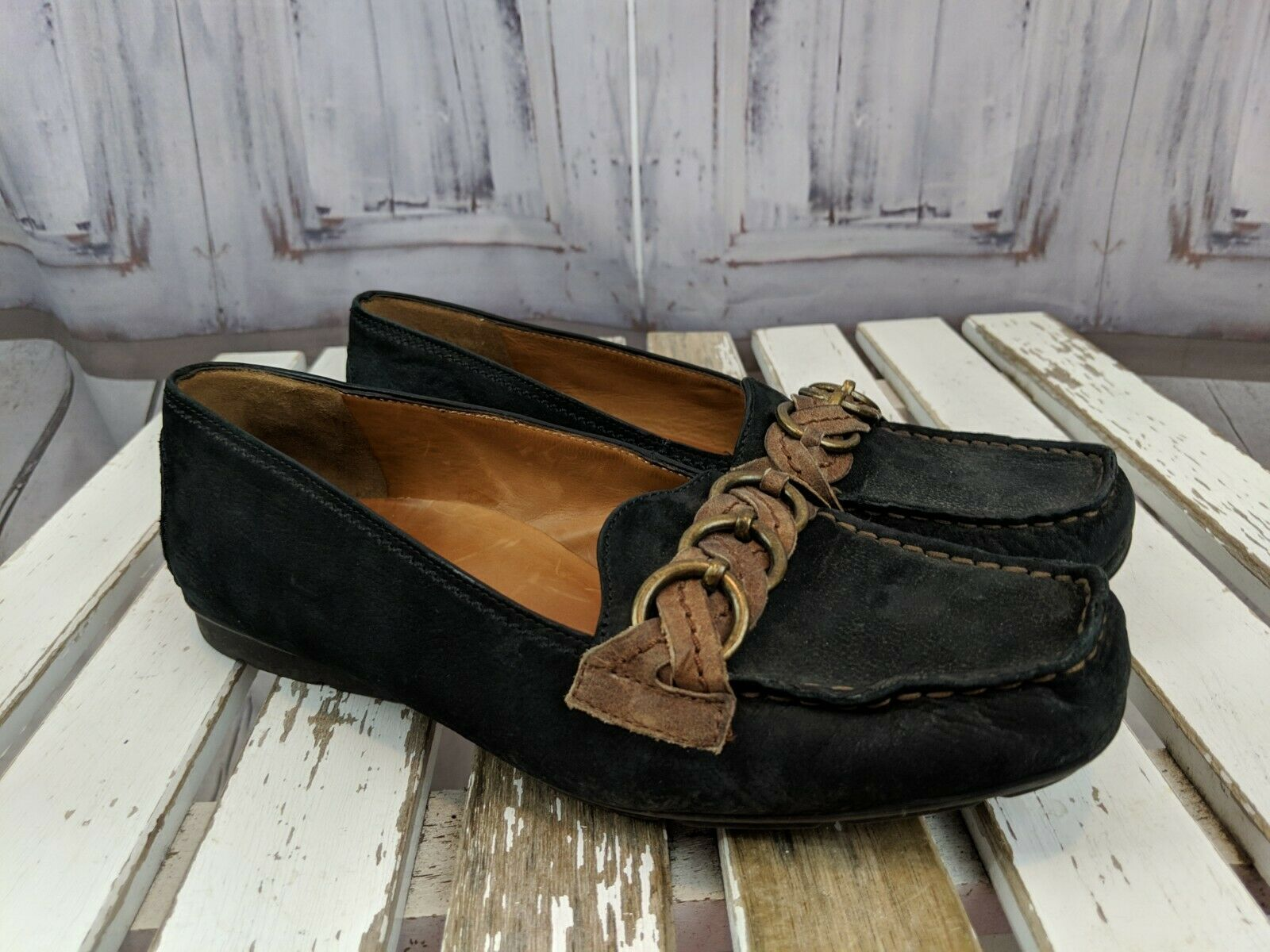 Paul Green flats comfort loafers moccasins 5.5 mens suede leather braided black