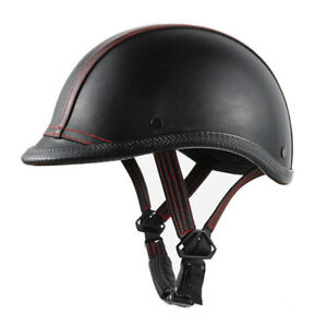 Vintage-Motorcycle-Half-Helmet-Deluxe-Leather-Unisex-Kid-Scooter-Chopper-Cruiser