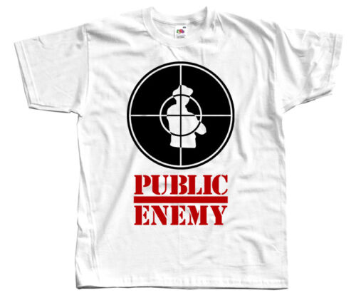 ENNEMI PUBLIC logo Chuck D S-5XL T-shirt DTG Blanc hip-hop