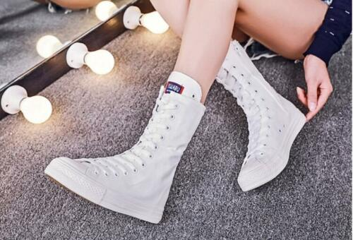 Womens Canvas Sneakers Shoes Mid Calf Boots Lace Up Flat Heels Side Zip Casual T