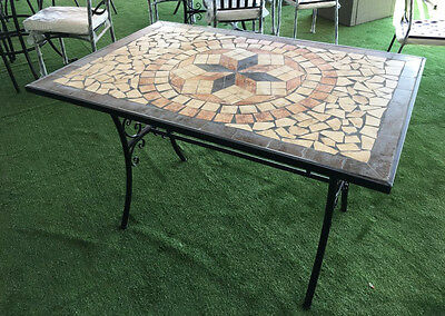 Tavolo Da Esterno Ferro.Tavolo Da Giardino Rettangolare Con Mosaico In Ferro Battuto Cm