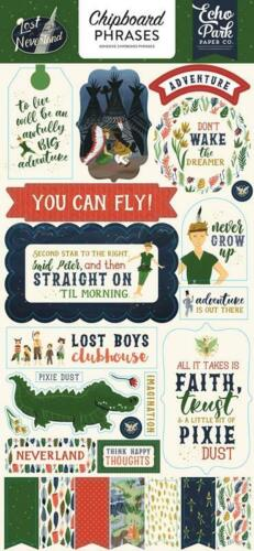 Echo Park LOST IN NEVERLAND 6x13 Adhesive Chipboard Phrases 26pc Peter Pan
