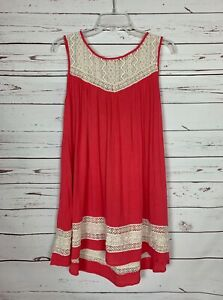 Umgee-USA-Boutique-Women-039-s-S-Small-Coral-Sleeveless-Lace-Summer-Tunic-Top-Shirt
