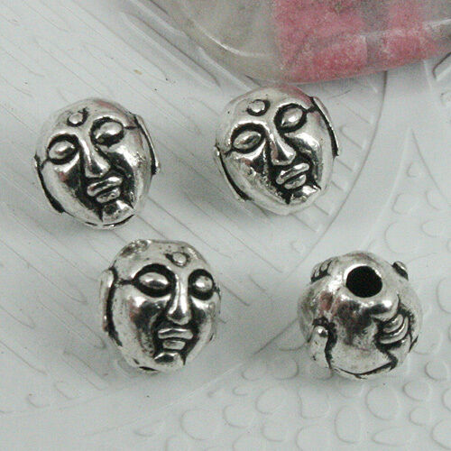 24pcs tibetan silver color 2sided Buddha head spacer beads EF0382