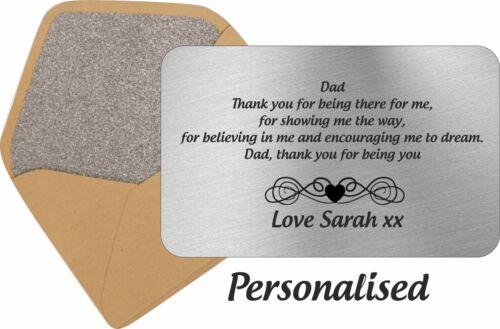 Dia Dos Pais Personalizado Carteira Cartão Metal Encarte Papai ideia Presente Lembrança