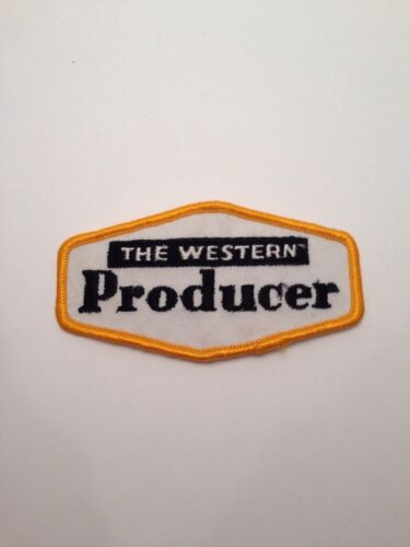 "Vtg The Western Producer Sew On Patch 4"" Newspaper Farming Insurance Media Farm"
