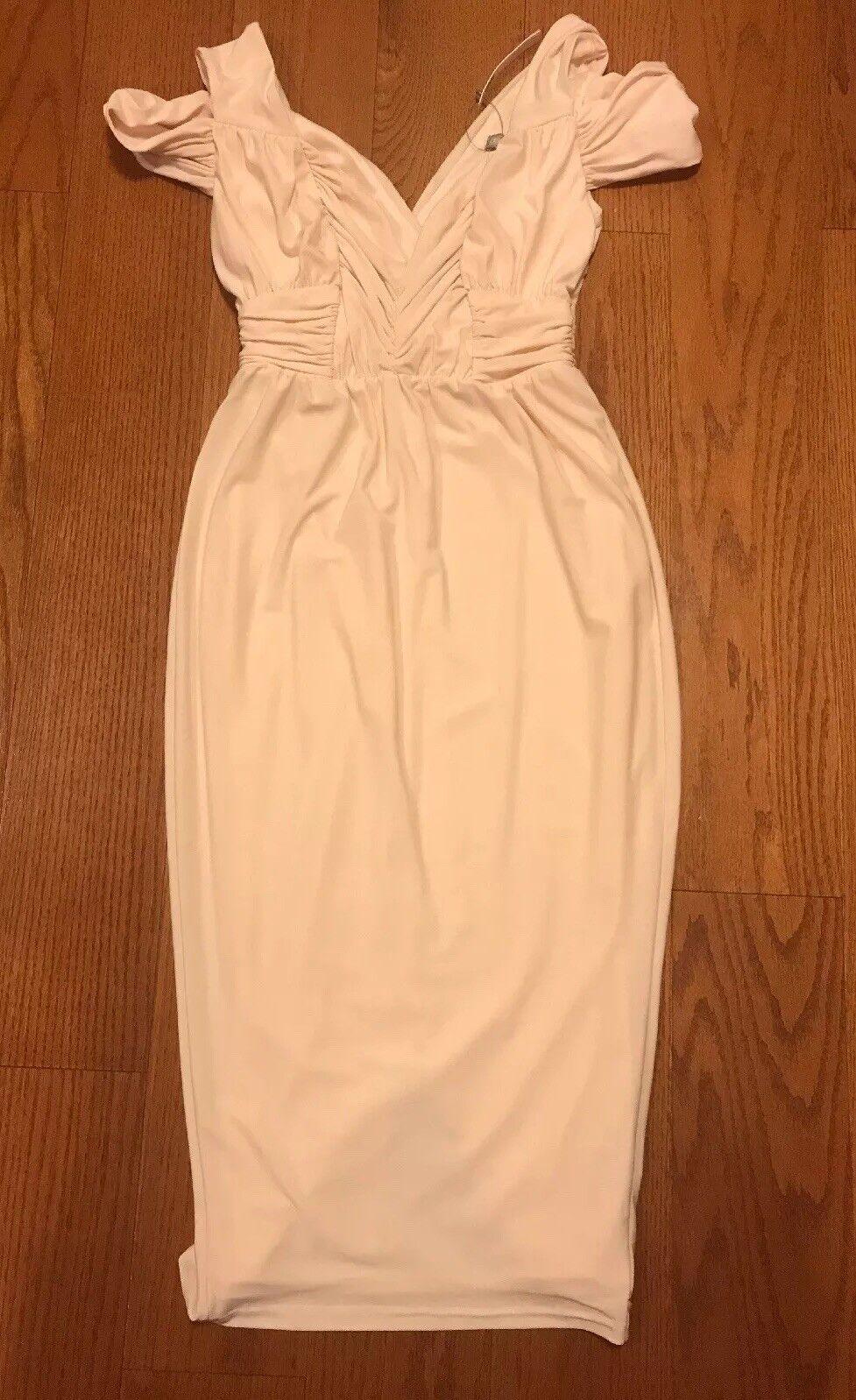 Asos bluesh Peach Nude color, Off Shoulder Midi Dress Sz. 0 NWT