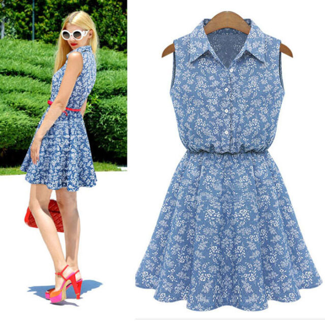 Summer Dress Fashion Dresses Women Lady Lapel Sleeveless Casual Slim Denim Dress