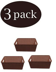 YBM-Home-Plastic-Rattan-Storage-Box-Basket-Organizer-Ba413-Sold-Per-3-Baskets