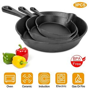 "3 Piece Cast Iron Skillet Set Pre Seasoned Non-stick Oven 6/8/10"" Frying Pan"