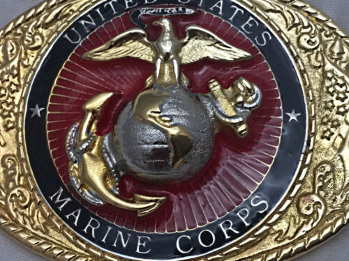 Solid Brass Limited Edition USMC Belt Buckle Hand Painted
