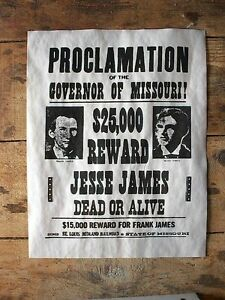 """698L OLD WEST OUTLAW JESSE JAMES $5,000 REWARD WANTED REPLICA POSTER 11/""""x14/"""""""