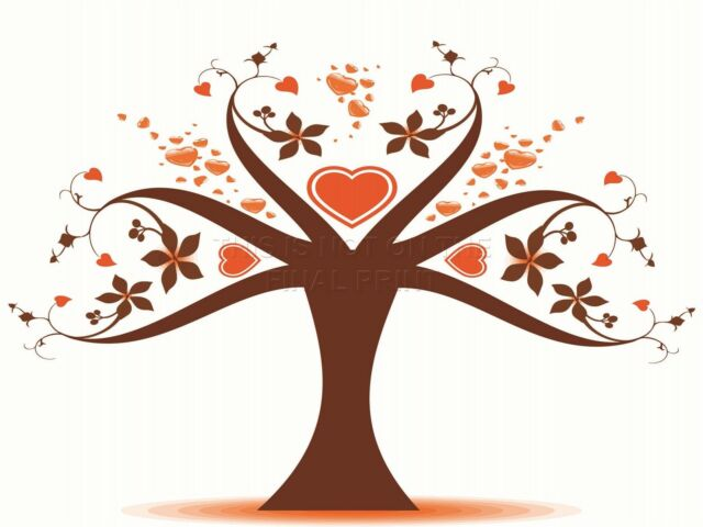 ART PRINT POSTER PAINTING DRAWING ABSTRACT TREE LOVE HEART LEAVES LFMP0389