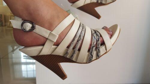 Size 3 White strappy wedge platform sandals BNIB