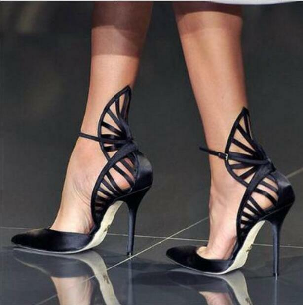 Femme creux Sexy Noir Talon Haut Stilettos Sandales bout pointu et roman Chaussures
