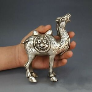 China-Collectible-Handwork-Old-Miao-Silver-Carve-Lifelike-Lucky-Camel-Statue