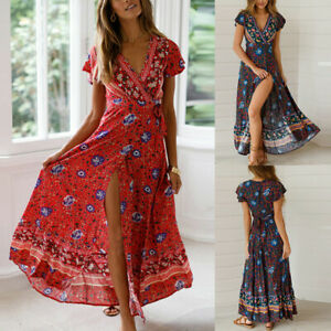 Nouveau-Femmes-Ete-Secy-V-Col-Manches-Courtes-Boheme-Floral-Robe-Plage