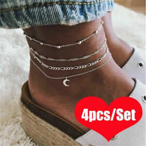 Women-039-s-4pcs-Silver-Ankle-Bracelet-Anklet-Adjustable-Chain-Foot-Beach-Jewelry