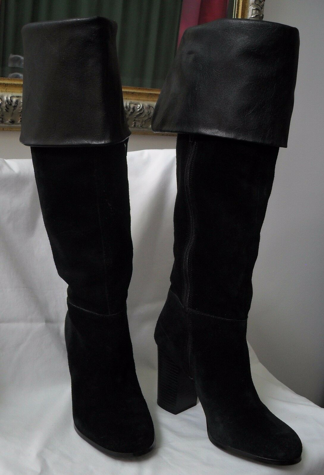 SE BLACK BOUTIQUE Stiefel SZ8.5M SAM EDELMAN  BLACK SE TANNA 009 OVER THE KNEE SUEDE 3cac89