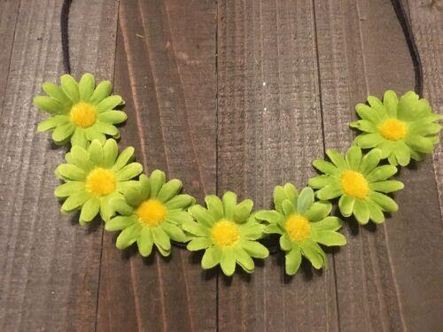 Handmade Green Daisy Flower Halo Headband Rustic Country Wedding Hippie Festival