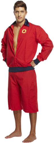 Mens Fancy Dress Lifeguard Costume Jacket and Shorts 90s