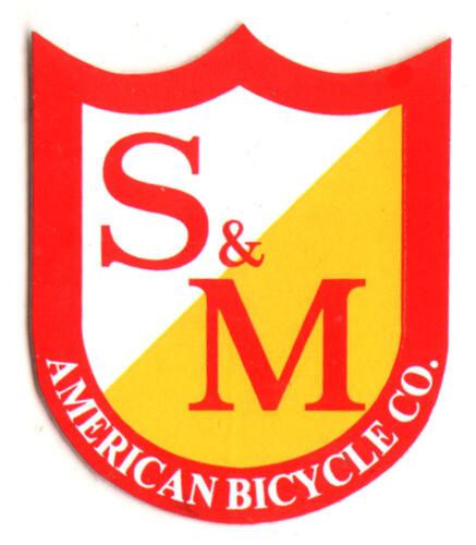 S/&M Bikes Die Cut Red//Yellow Classic Shield BMX Sticker 3.8cm high approx new