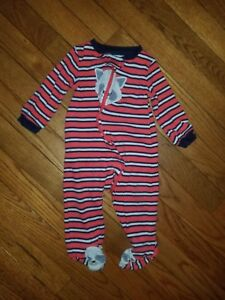 3535a8c85 Boys Carter s Red Striped Fleece Zip Up Footie Pajamas Size Dog ...