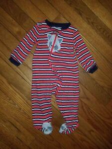 d61027d2265a Boys Carter s Red Striped Fleece Zip Up Footie Pajamas Size Dog ...