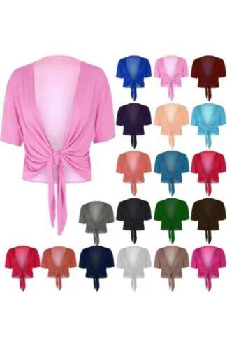 Da Donna Con Semplice Short Sleeve cravatta anteriore Bolero corpetto Cardigan Coprire Top