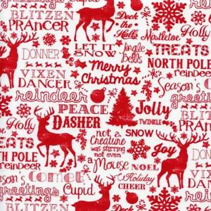 image is loading reindeer and christmas words jolly white quilt sew - Christmas Words That Start With S