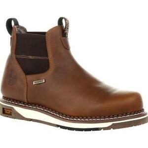 Georgia-Chelsea-GB00352-Mens-Light-Brown-Wedge-Waterproof-Work-Boots