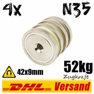 4x-Neodym-Topfmagnet-D42x9mm-52kg-N35-mit-Loch-starke-Scheibe-zum-Anschrauben