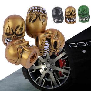 Gold-Skull-Skeleton-Head-Car-Wheel-Tyre-Tire-Air-Valve-Stem-Cap-Dust-Cover-Set