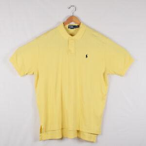 Men-039-s-Polo-Ralph-Lauren-Short-Sleeve-Polo-Shirt-Yellow-Navy-Blue-Logo-Size-XL
