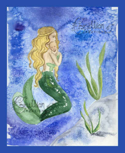MY BABY  Mermaid daughter son mom  Print from Original Painting By  Grimshaw