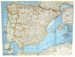 Details about ⫸ 1965-3 Vintage Original Map Spain & Portugal – National  Geographic good cond.