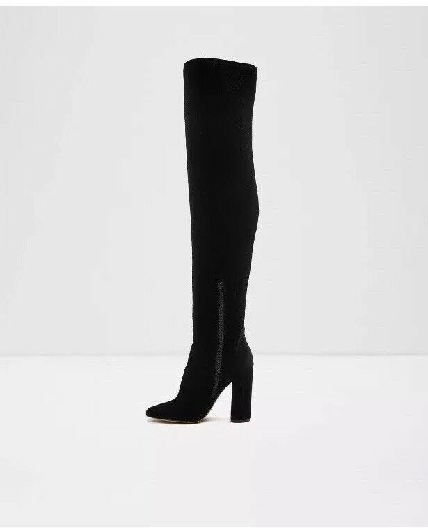 ALDO Tenesha Black Velvet Over Knee Womens Boots Black Size UK 4 New In Box