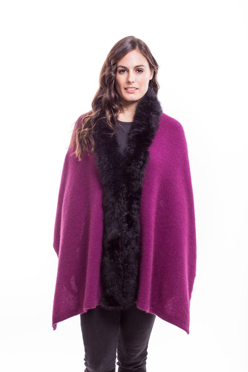 New Zealand Possum Merino Wool Knitwear Fur Shrug Wrap