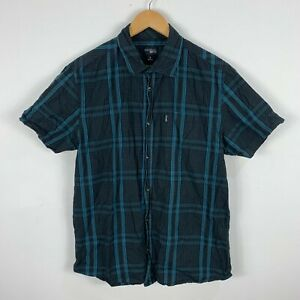 RipCurl-Mens-Button-Up-Shirt-Size-Large-Grey-Blue-Plaid-Short-Sleeve-Collared