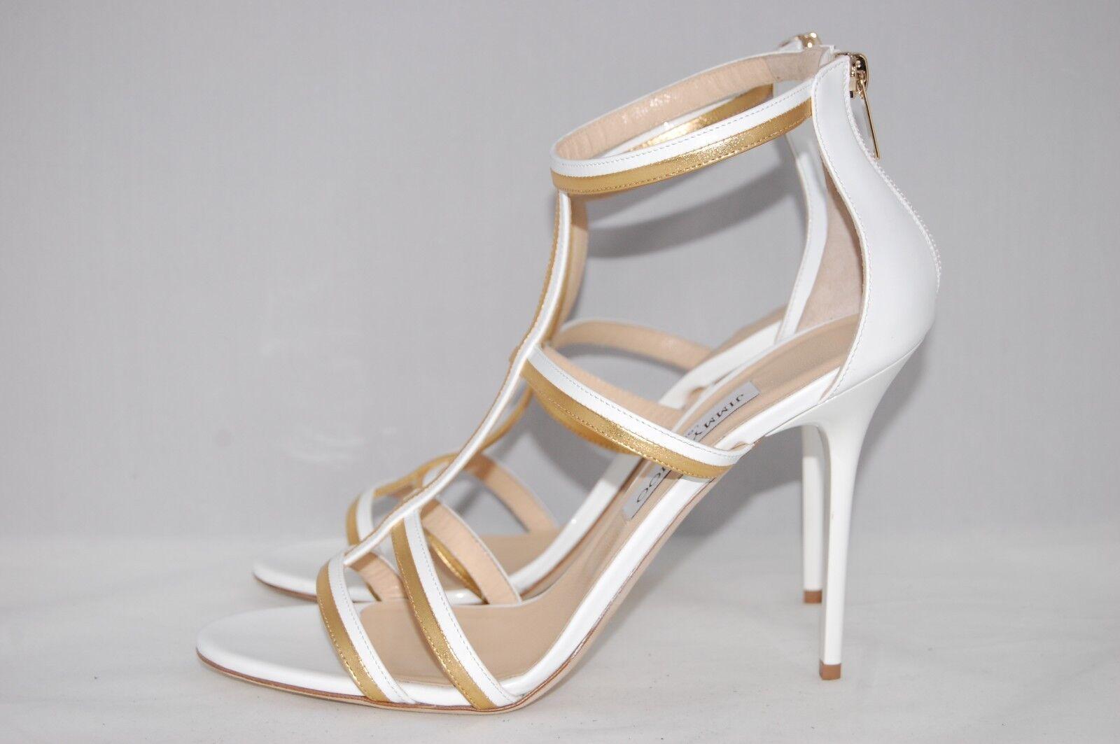 Nuovo  795 JIMY CHOO oro Bianco  Thistle T -Strap Rita Ora Sandal Pump scarpe 11 Stati Uniti  80% di sconto