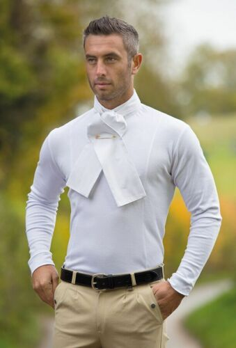 Shires Mens THERMAL equestrian hunt or hunting shirt white