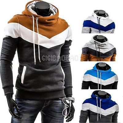 New Men Slim Fit Pullover Hoodie Thicken Fleece Casual Hooded Sweatshirt Coat