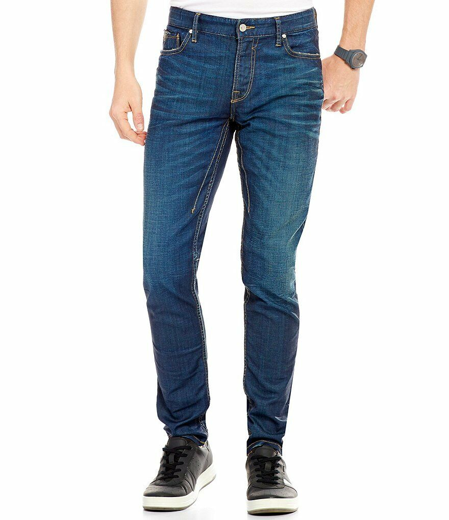 NWT Guess Slim Tapered Whiskeredm Stretch Denim Jeans - Medium Wash - Sz 38 x 32