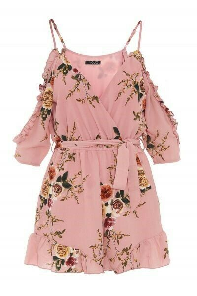 Quiz Clothing - Pink Floral Cold Shoulder Playsuit Brand New