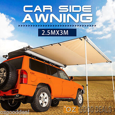 2.5x3m CAR SIDE AWNING ROOF TOP TENT TRAILER CAMPING 4X4 PULL OUT 07001L