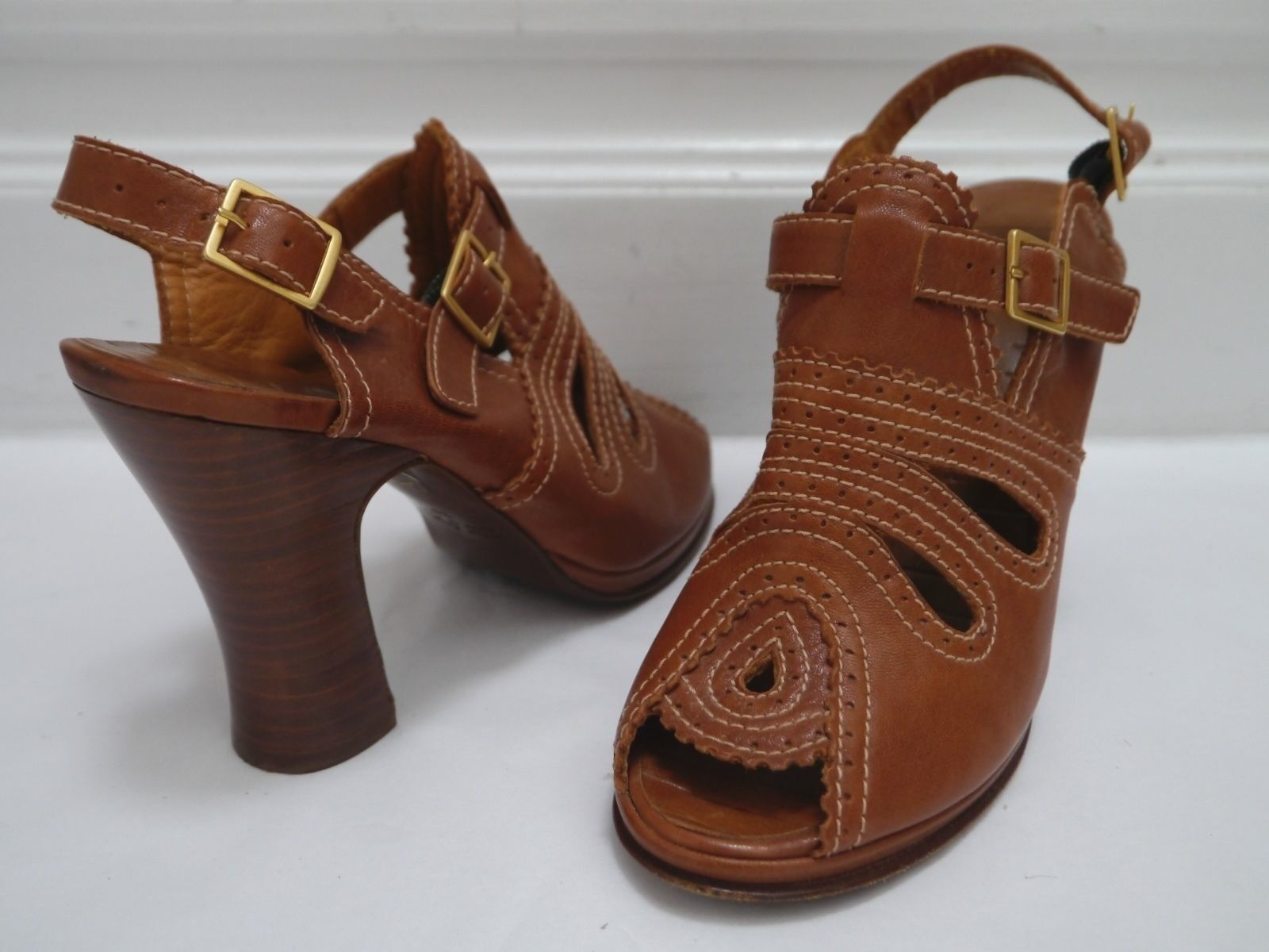 CHIE sandal MIHARA Braun leather cutout peep-toe heels shoes sandal CHIE size 36.5 WORN ONCE de37ed