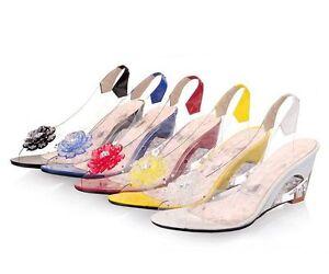 254568382e3 Womens Clear Flower Rhinestone Open Toe Med Heel Wedge Shoes Sandals ...
