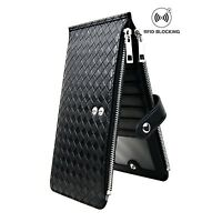 Credit Card Wallet Women Rfid Id Holder Slim Black Leather Case Business Purse